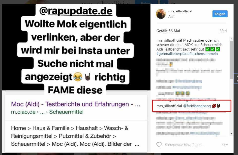 Mrs. Silla schieß via Instagram gegen MOK und markiert Farid Bang