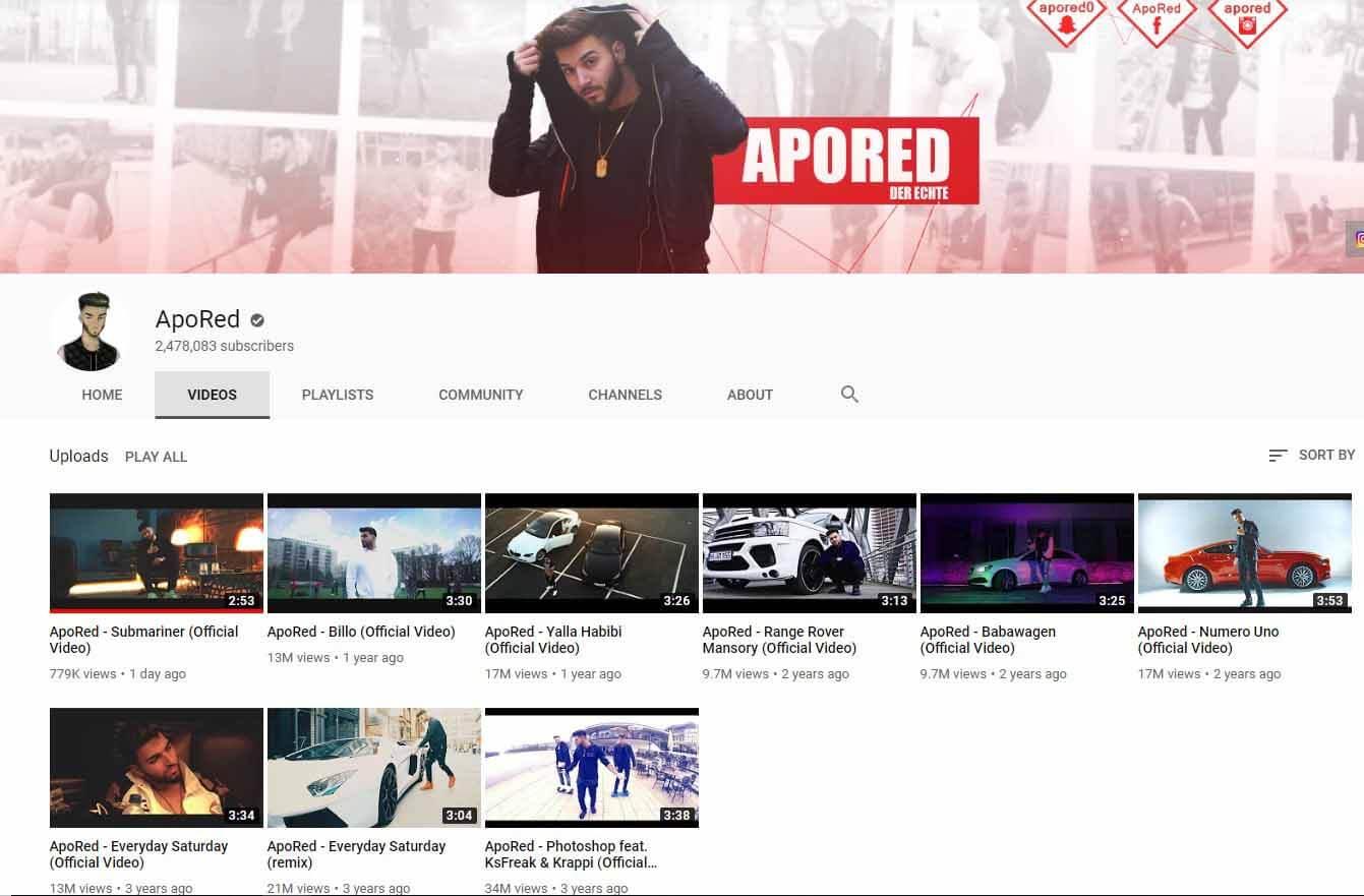 ApoRed löscht alle seine Videos bis auf die Musikvideos