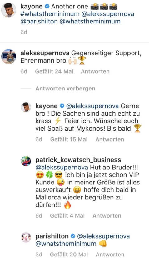 Kay One und Paris Hilton via Instagram