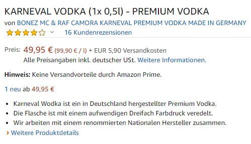 Preis von ursprünglich 19,99 Euro auf 49,95 Euro erhöht