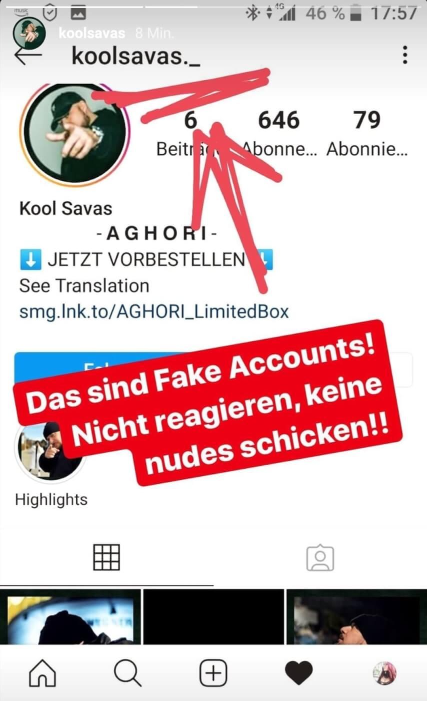 Kool Savas warnt seine Fans vor Betrügern via Instagram-Story