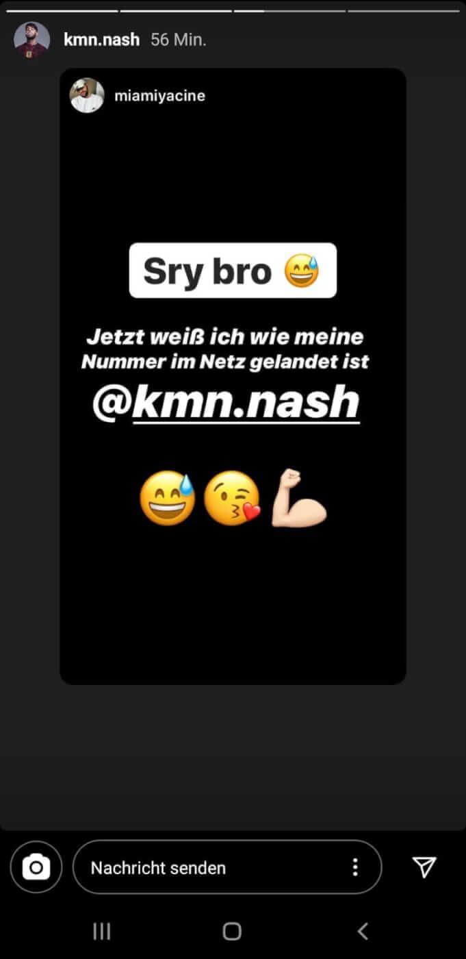 Miami Yacine gibt via Instagram-Story bekannt, dass Nash seine Nummer geleaket hat