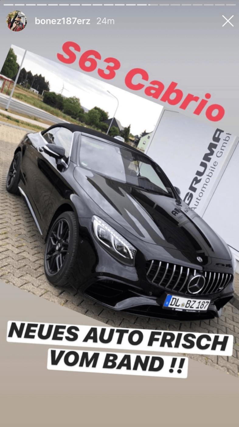 Bonez MC präsentiert sein neues Auto in seiner Instagram-Story