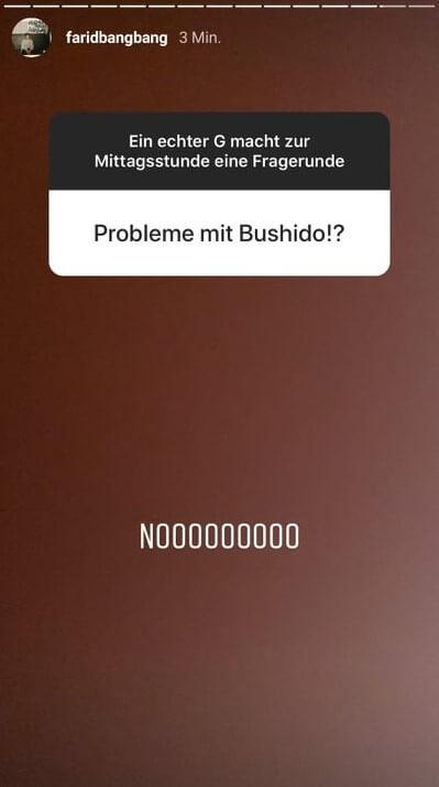Farid Bang verrät in seiner Instagram-Story, dass er keinen Beef mit Bushido hat