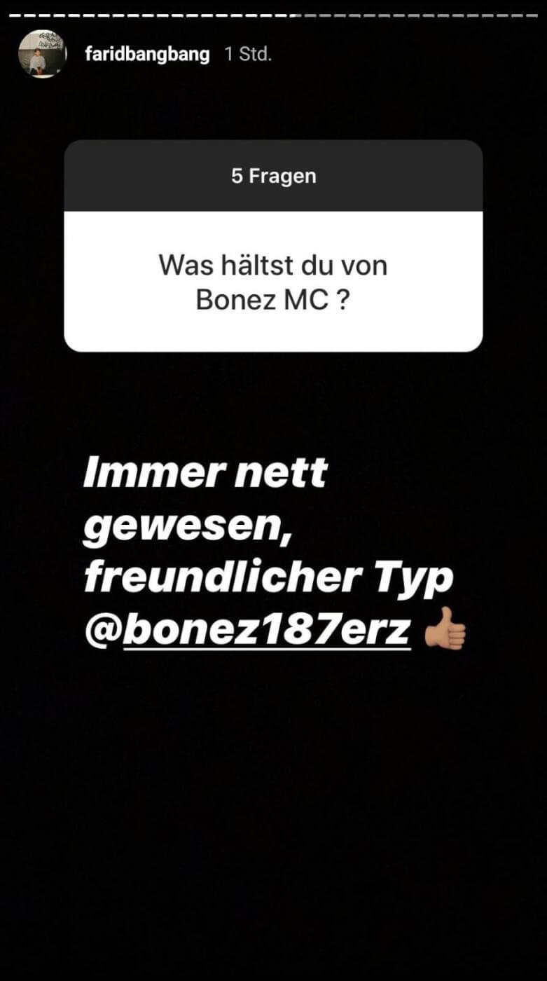 Farid Bang beantwortet Fanfragen via Instagram-Story