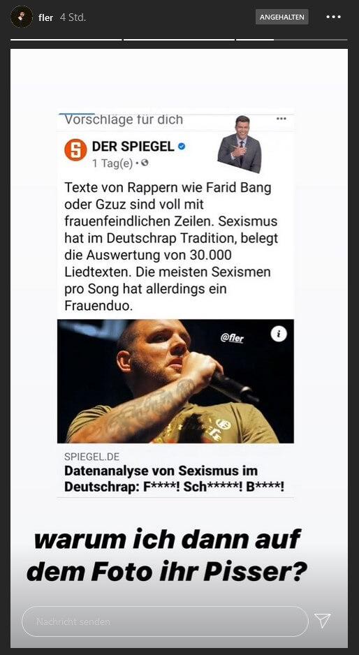 """Fler schießt gegen den """"Spiegel"""" in seiner Instagram-Story"""