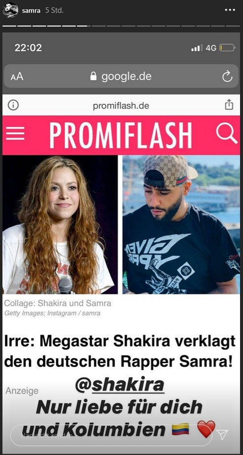 Samra schreibt via Instagram Story direkt an Shakira