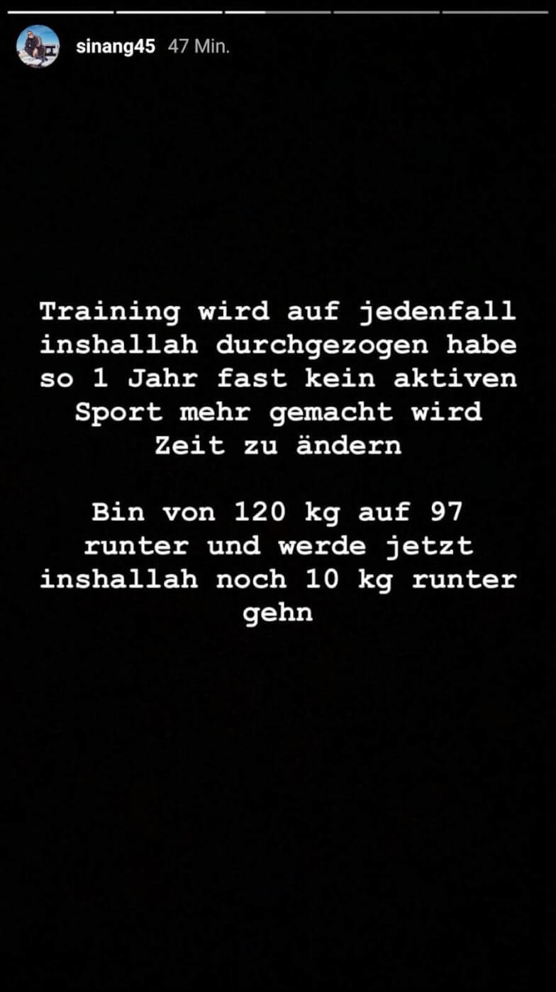 Sinan-G spricht über sein Gewicht und sein Ideal-Gewicht via Instagram-Story