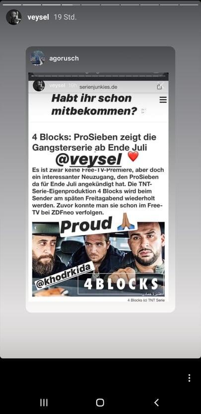 Veysel gibt ProSieben Ausstrahlung via Instagram-Story bekannt