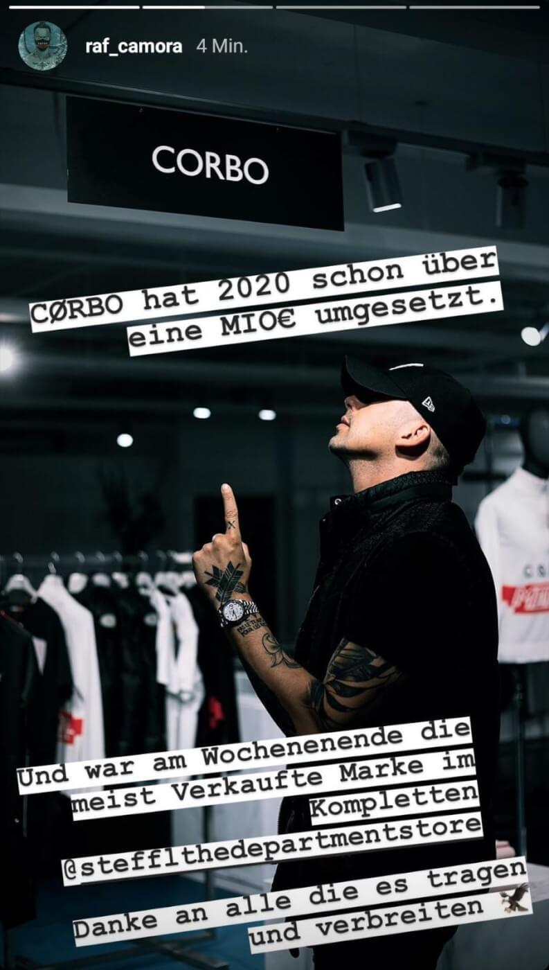 Raf Camora gibt Umsatz seiner Modemarke via Instagram Story bekannt