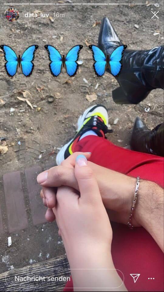 Data Luv veröffentlicht Foto via Instagram-Story, auf dem er die Hand eines unbekannten Mädchens hält