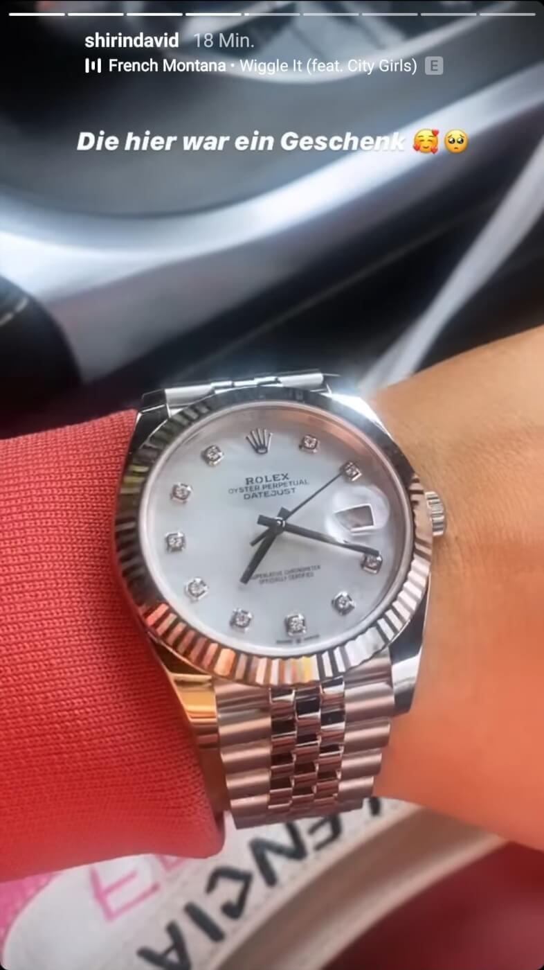 Shirin David zeigt ihre neue Rolex Uhr in ihrer Instagram Story
