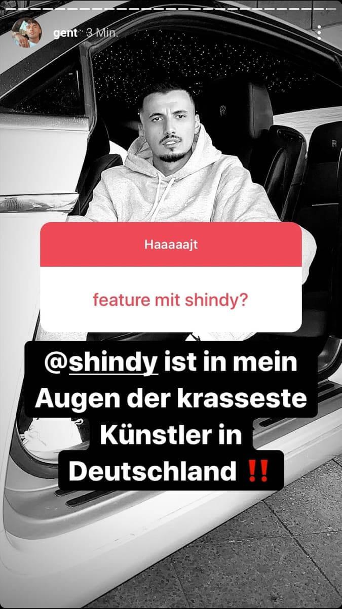 Gent veröffentlicht seine Meinung über Shindy via Instagram-Story
