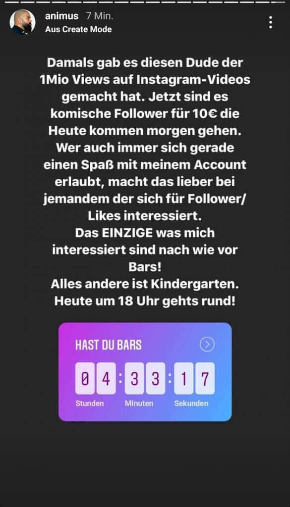Animus bezieht Stellung zu den Vorwürfen via Instagram Story