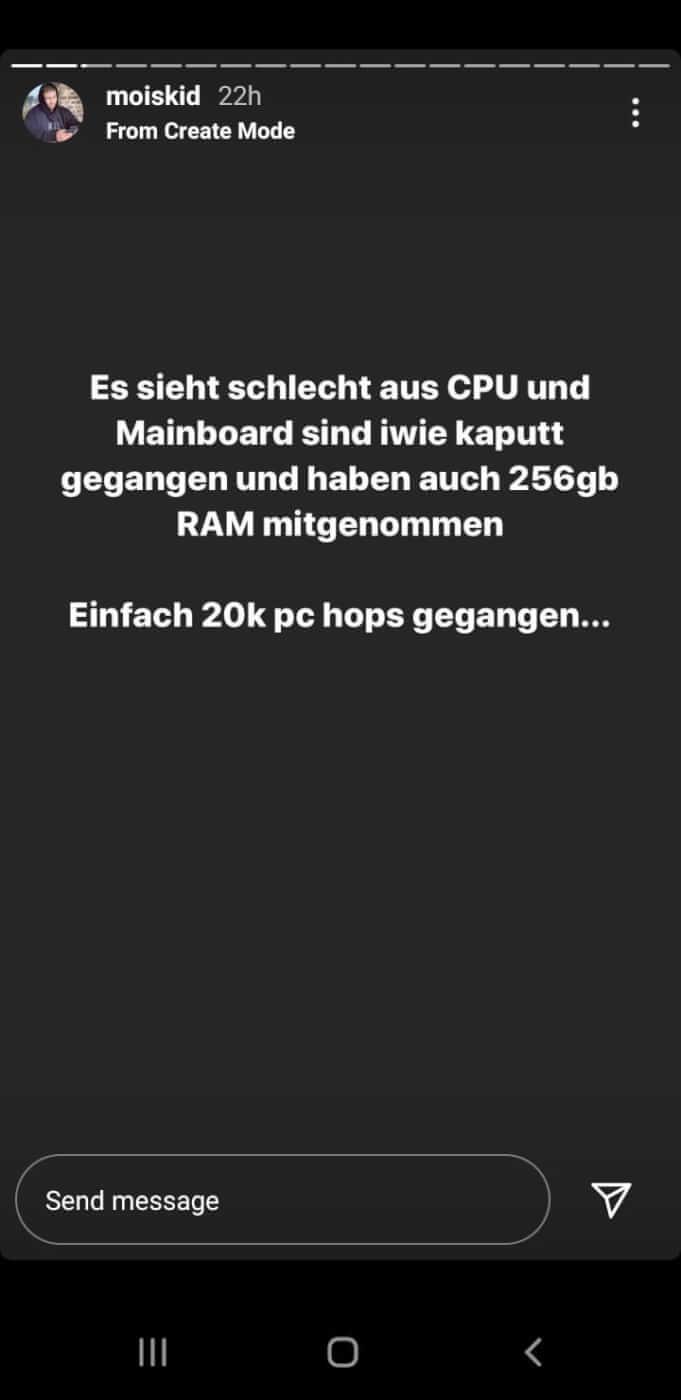 Mois gibt via Instagram Story das Ende seines 20.000 Euro teuren PCs bekannt