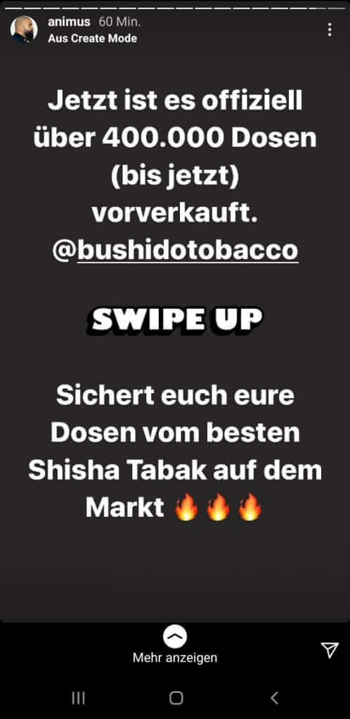 Animus gibt via Instagram-Story bekannt, dass Bushido 400.000 Tabak-DOsen im Vorverkauf vertreiben konnte