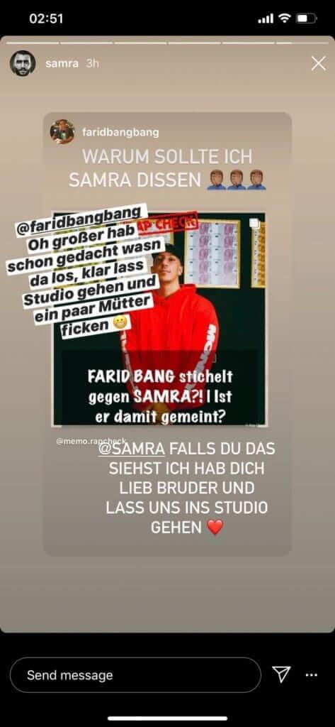 Samra reagiert via Instagram Story auf das Statement und Angebot von Farid Bang