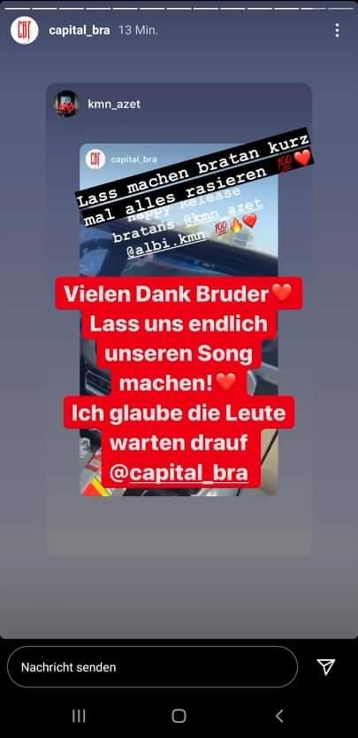 Capital Bra schreibt via Instagram Story an Azet