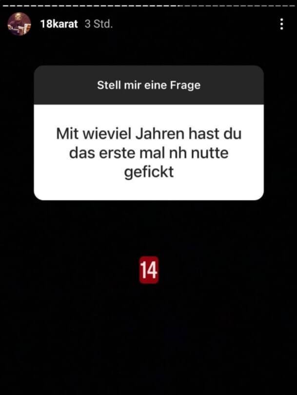 18 Karat beantwortet in einer Instagram Fragerunde die Frage eines Fans