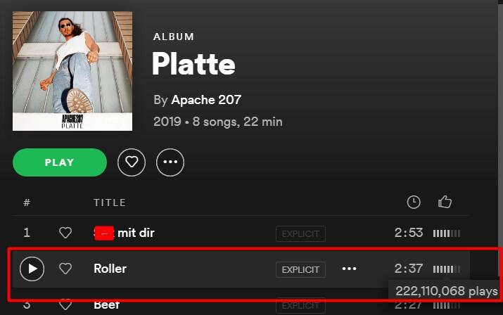 """Apache knackt mit seiner Single """"Roller"""" deutschlandweiten Rekord"""