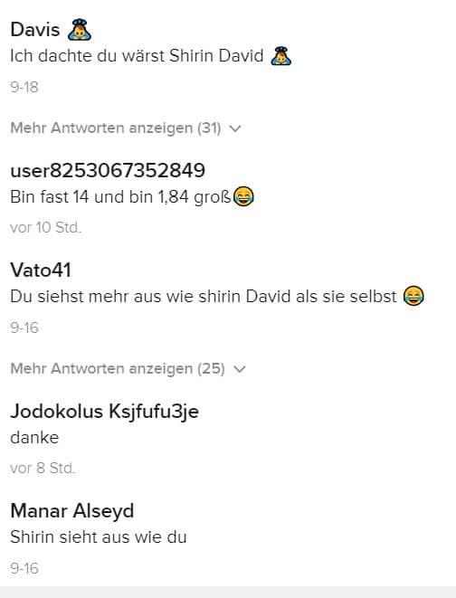 Reaktion zur Shirin David Doppelgängerin auf TikTok
