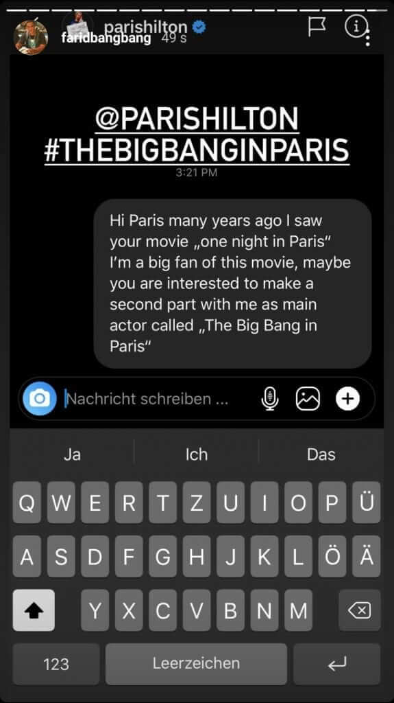 Farid Bang veröffentlicht Chatverlauf mit Paris Hilton via Instagram Story