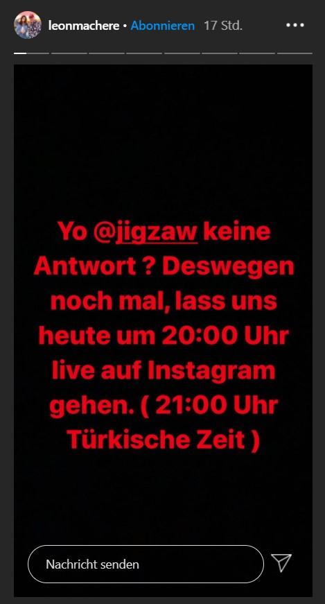 Leon Machère schickt Einladung via Instagram an Jigzaw