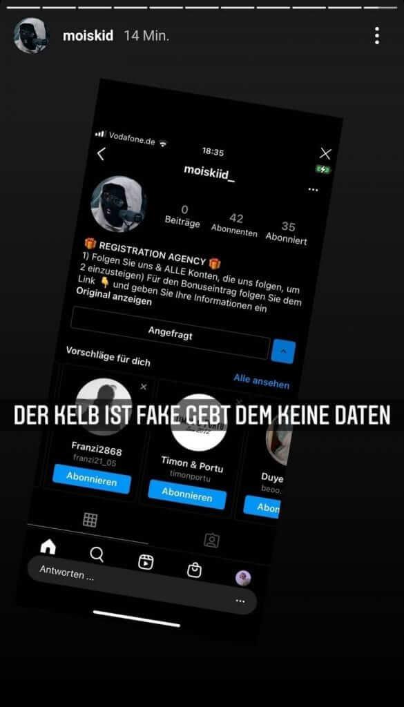 Mois warnt seine Fans vor Betrügern auf Instagram