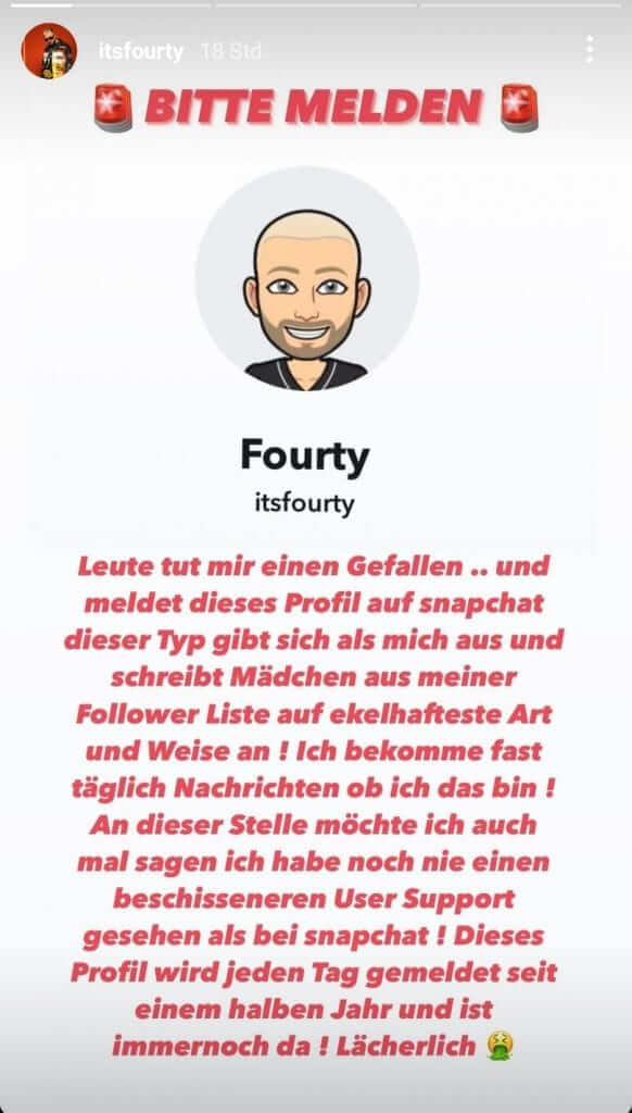 Fourty warnt seine Fans via Instagram Story