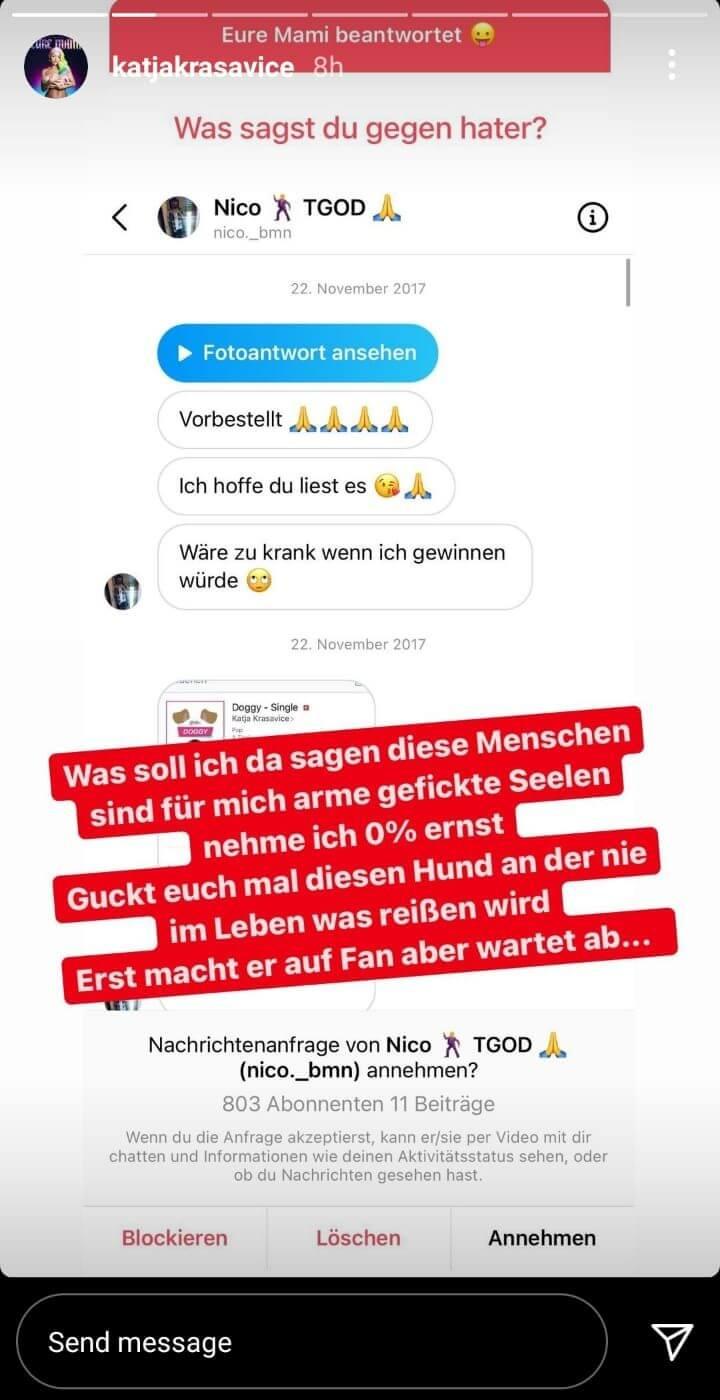 Privatnachricht von Fan an Katja