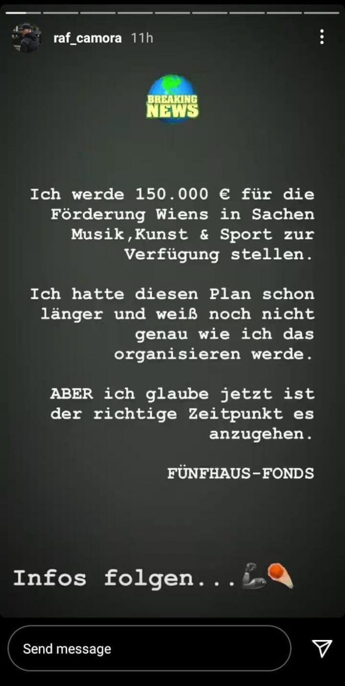 Raf Camora mit Spende für Wien