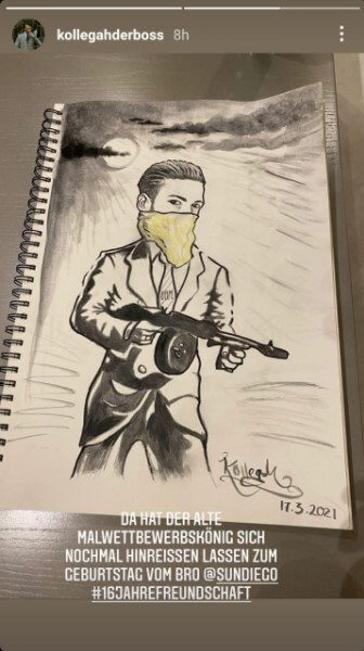 Sun Diego zeigt Kollegahs Zeichnung via Instagram Story